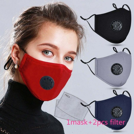 PM25 activated carbon filter mouth mask - anti pollution & dust - medical - with air valve - incl filters