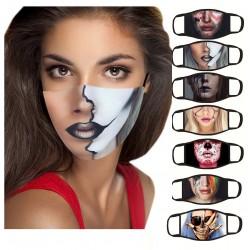 Mouth / face protective mask - reusable - cotton - printed face - 1 - 7 pieces