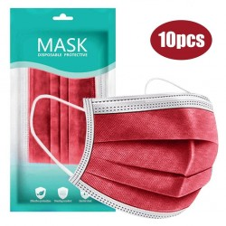 Mouth / face protective face mask - disposable - anti-bacterial - red - 10 - 100 pieces