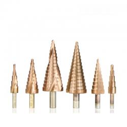 HSS coated step drill bit - 4-12mm / 4-20mm / 4-32 - wood / metal drilling