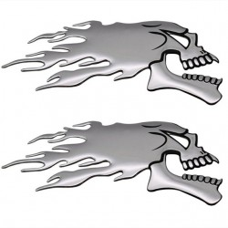 3D chrome ghost skull head - car & motorcycle sticker 2 pieces