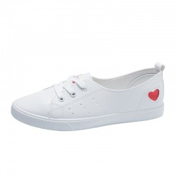 Classic white loafers - flat sneakers - with heart decoration