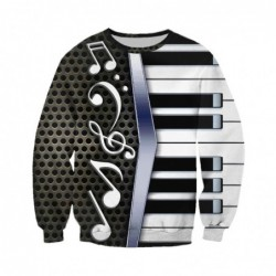 Trendy sweater / hoodie - with zipper - 3D piano print
