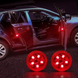 Car door LED warning light - wireless magnetic induction - 2 pieces