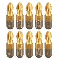 Screwdriver bits - 1/4 inch - titanium coated - anti-slip - Phillips hex shank - PH2 - 25mm - 10 pieces