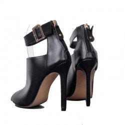 Sexy high heel boots - with metal buckle - open toe