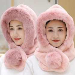 Fur winter hat with scarf - balaclava with pom pom
