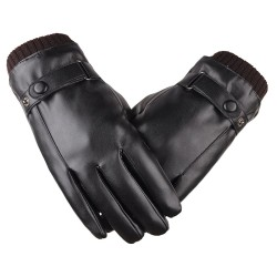 Elegant leather men's gloves - touch screen function - windproof